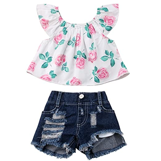 c487cf38a754 Image Unavailable. Image not available for. Color: 2Pcs/Set Toddler Baby  Girls Floral Ruffle Off Shoulder Tank Tops Shirt + Denim Shorts