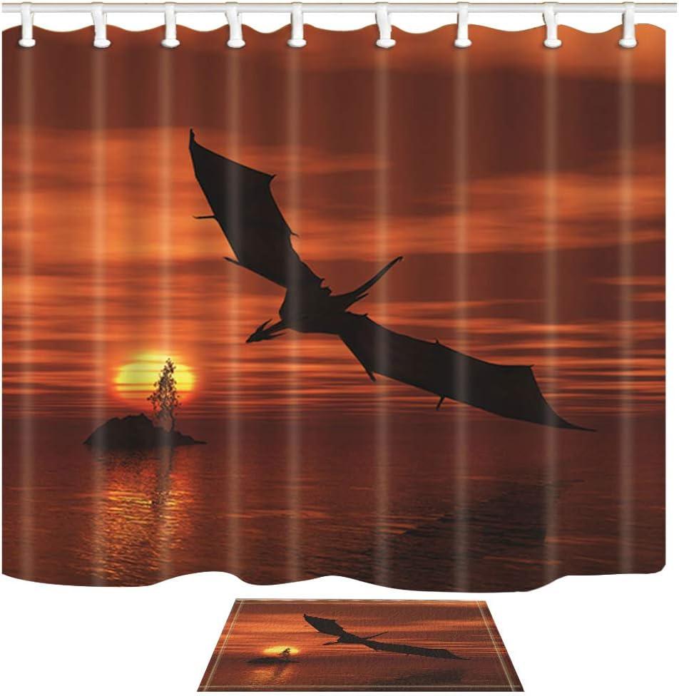 Shocur Dinosaur Shower Curtain Set, Sea Sunset Island, Black Flying Pterosaur, Dragon Bathroom Decor Polyester Fabric 69 x 70 Inches with 12 Hooks and Non-Slip 15 x 23 Inches Bath Rug