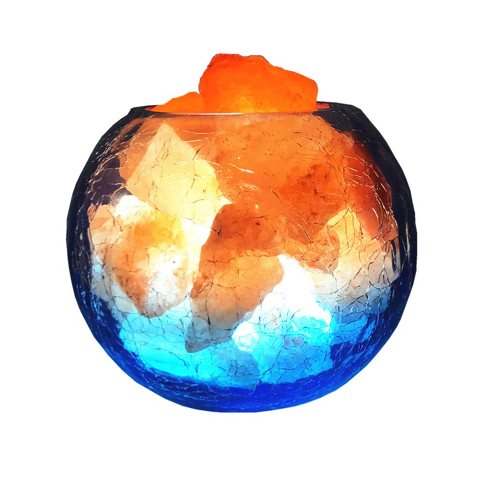 LOHOME Natural Rock Himalayan Salt Lamp Electric Wire 5W Glass Container Small Night Light with Dimmable Switch for Decoration
