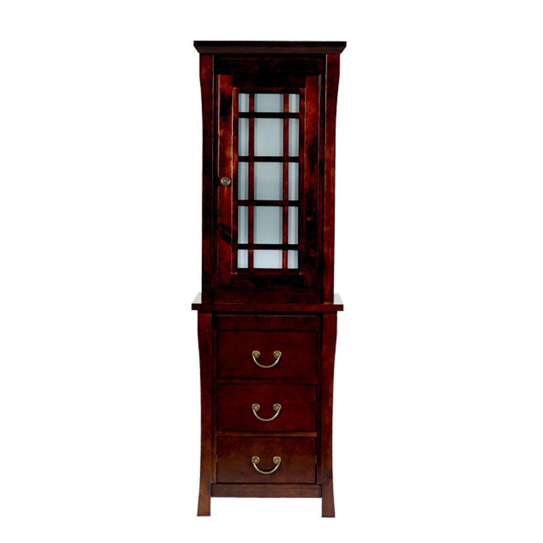 MAYKKE Shoji 22'' x 69'' Tall Pacific-Rim Curio Bathroom Vanity Cabinet | Linen Tower, Shelf, and Drawer | Brushed Nickel Hardware Dark Brown Storage Organizer | Vintage Walnut, LBA3021001