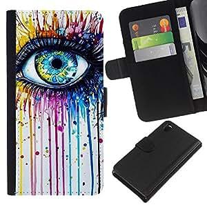 A-type (Blue Crayon Melting Rainbow Color) Colorida Impresión Funda Cuero Monedero Caja Bolsa Cubierta Caja Piel Card Slots Para Sony Xperia Z3 D6603