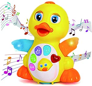 Dancing Duck Music Baby Toys,Toddlers Musical Flapping Duck Light Singing Walking Educational Learning Toy Gift for 1-3 Years Old Boys/Girls- 6 Songs, Speaking and Sound Adjustable