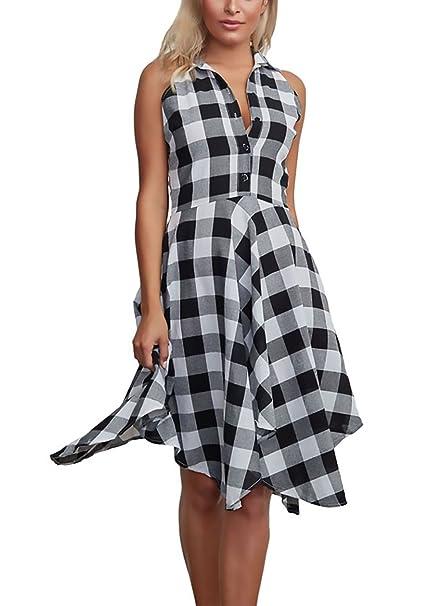 Mujer Vestidos Camiseros Verano Elegantes A Cuadros Vestido Casual Sin Mangas De Solapa Irregular Con Plisado