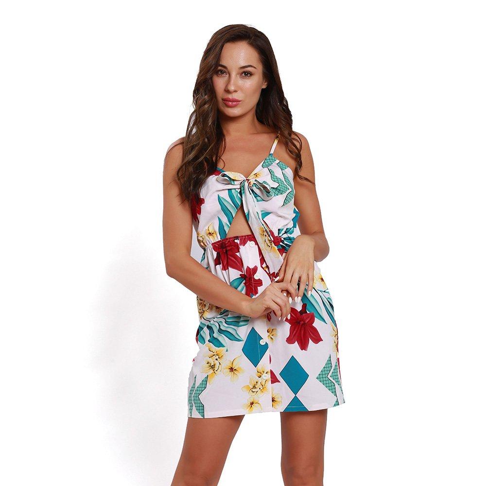 Cvbndfe Cómodo Vestido A Media Pierna De La Playa con Cuello En V De Color Sólido De Las Mujeres De Verano Elegante (Color : Blanco, tamaño : Metro): ...