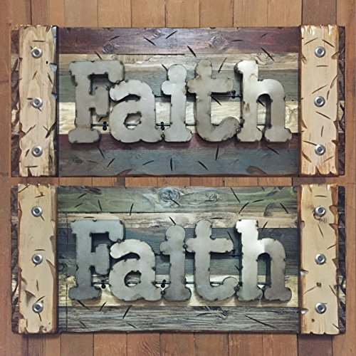 FAITH Sign Reclaimed Rustic Pallet Wood Wooden Wall Log Cabin Style 32'' Shutter Red Green Blue Cream Tan *Living Room Decor Rectangle *Industrial Distressed Metal Letters by Wooden Hearts