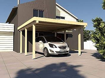 CarPort tejado plano Montreal XVIII – 300 x 500 cm laminada abeto tejado plano CarPort