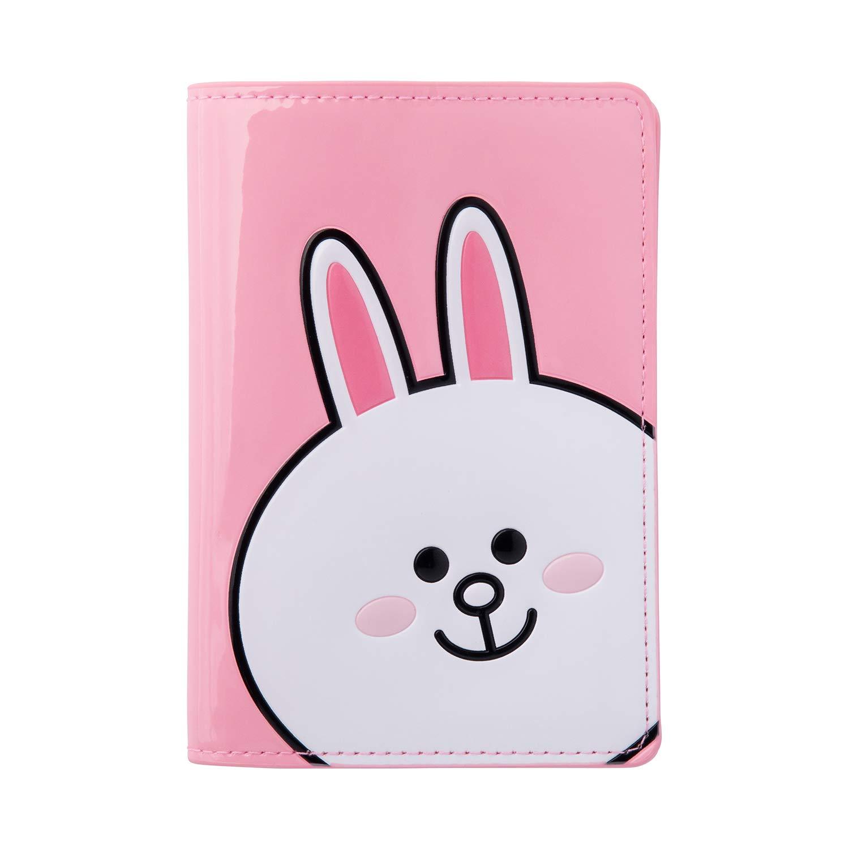 c2b34b550107 Line Friends Enamel Passport Holder - CONY Character Wallet Cover Travel  Organizer, Pink