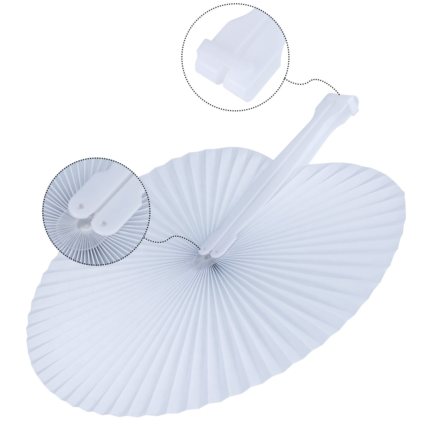 Pangda 24 Pieces Round Folding Handheld Paper Fans Accordion Fans Assortment for Party Wedding Favor Birthday Supplies Pink