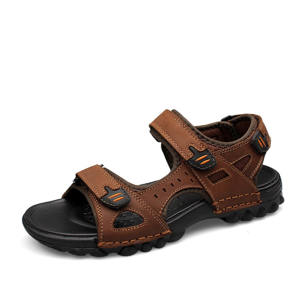 Unbekannt ailishabroy Sommer Sandalen Herren Echtes Leder Outdoor Schuhe  38 EU|Braun
