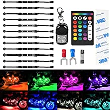 NEW UPGRADE 12Pcs Led Light Kits Multi-Color Wireless IR/RF Remote Controller Motorcycle Atmosphere Lamp RGB Flexible Strips Ground Effect Light for Car SUV Truck Bike ATV Interior Exterior