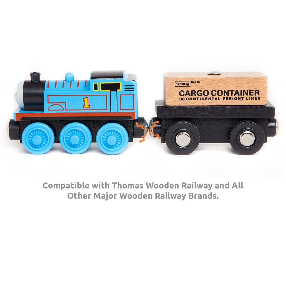 Orbrium Toys 12 Pcs Wooden Engines & Train Cars Collection Compatible with Thomas Wooden Railway, Brio, Chuggington by Orbrium Toys (Image #6)