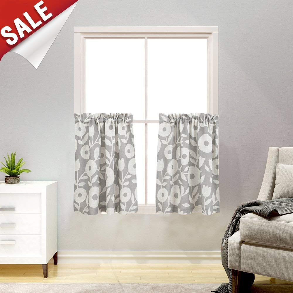 Floral Printed Tiers Kitchen Curtains, Linen Look Short Curtains for Bathroom Rod Pocket Rustic Window Treatments (2 Panels,36-Inch, Grey and White)