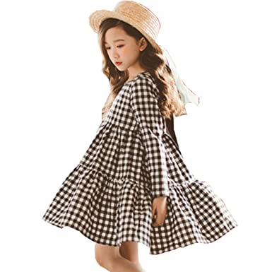 9805af3133f77 Girls Dresses, L'ananas Spring Autumn Kids Cute Bowknot Black White Plaid  Long Sleeve Draped A-Line Dress