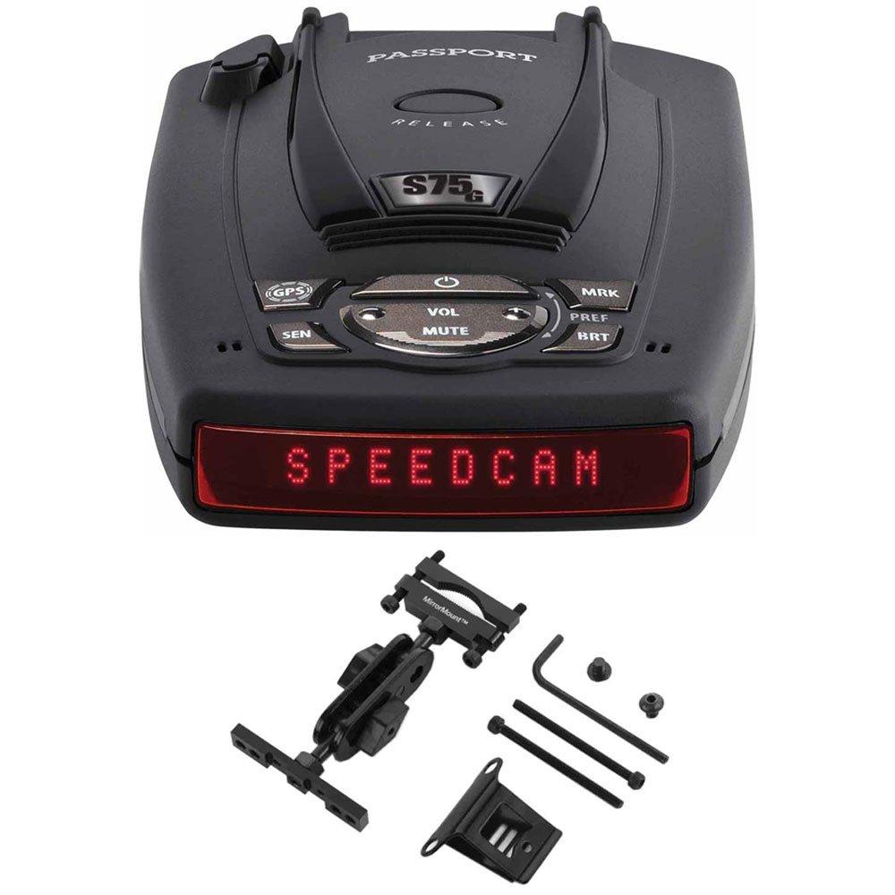 Escort PASSPORT S75g High Performance Radar and Laser Detector Bundle includes Car Mirror Mount Bracket For Radar Detectors