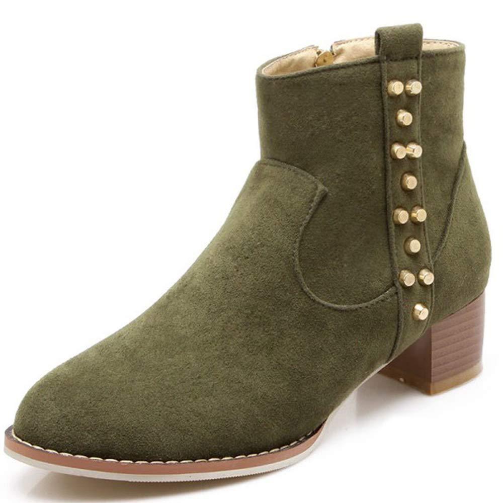 CITW Herbstliche Damenstiefel Rivet Wildleder Stiefel Mit Großen Damen Stiefeln Warme Stiefelmode Stiefel,Grün,UK5 EUR39