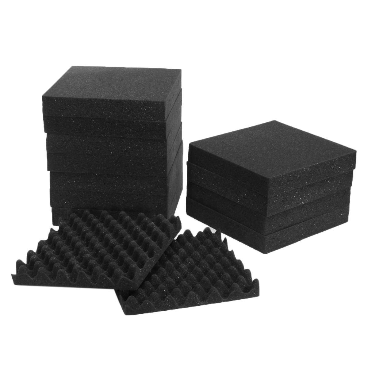 Stock_Home, Raw Materials, 24Pcs Acoustic Sound Treatment Convoluted Egg Profile Foam Panels Soundproofing Foam