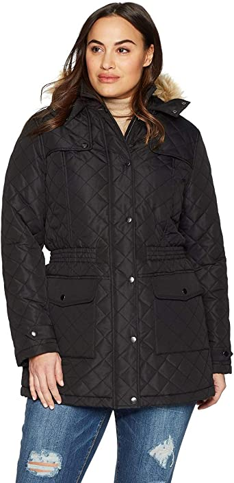 Ladies 18 20 New Blue Warm Quilt Lined Padded Winter Coat Fur Trim Hood Womens