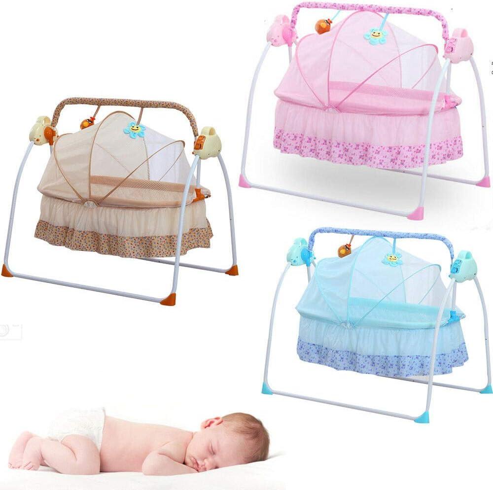 Cuna eléctrica para bebé con función de balancín, melodías automáticas caqui