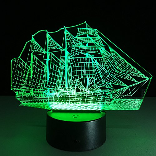 3D Table Lamp Boat Steamship Ship Shape Gift Acrylic Night light Furniture Decorative colorful 7 color change household Home Accessories sailboat by VELAN