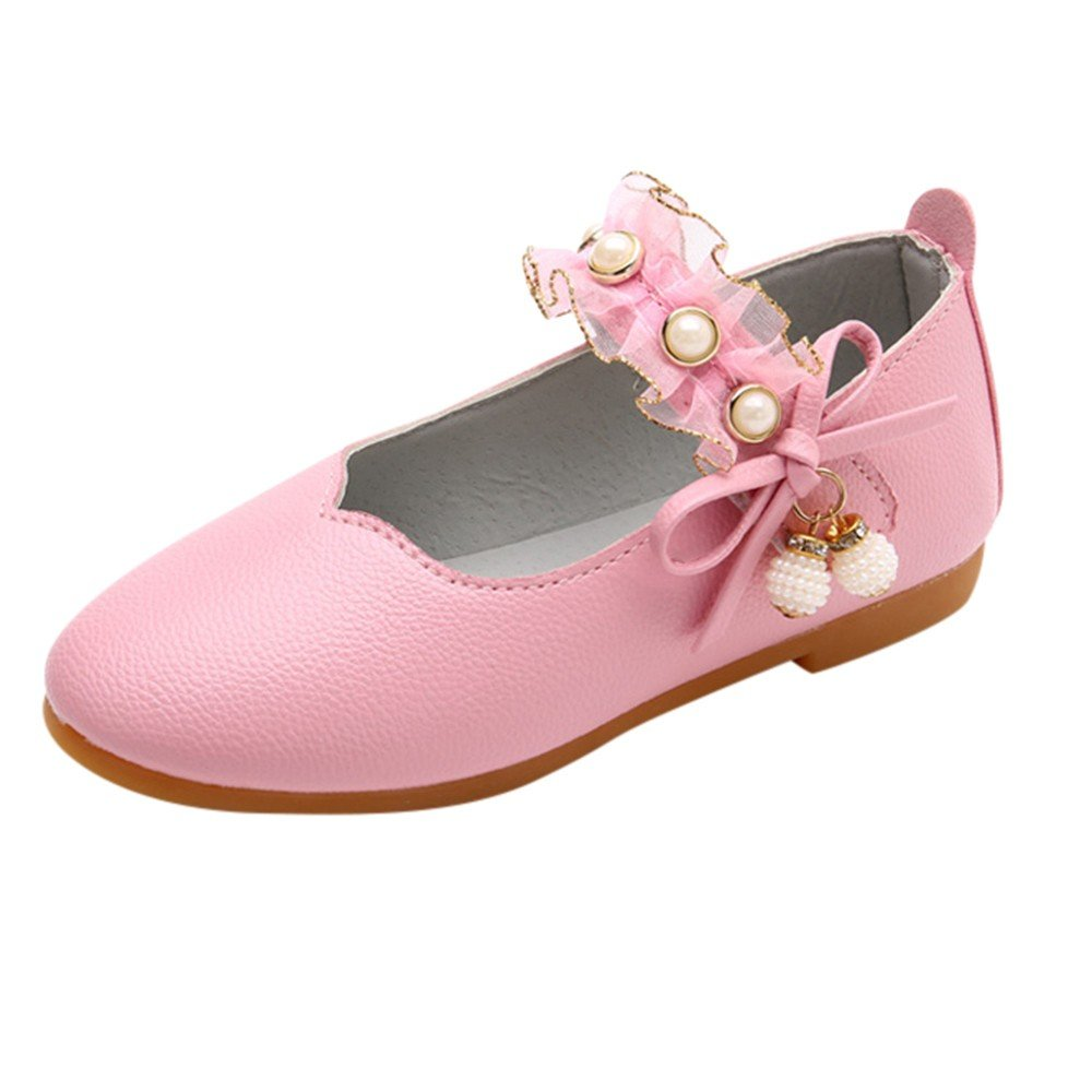 Lurryly Children Girls Solid Leather Bowknot Pearl Pendant Princess Single Casual Shoes