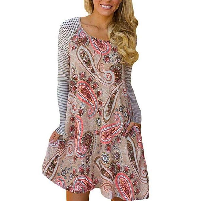Vestidos De Camisa Elegante Moda Mujer Vestido Otoño Flecos Patrón Estampadas Bolsillos Laterales Especial Estilo Anchos