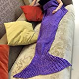 Es Unico® Knitted Mermaid Tail Blanket for Adult and Kids (Adult Purple)