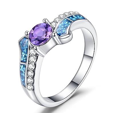 14010e13b80 Meteor Night 925 Sterling Silver Ring Purple CZ Blue Opal Ring Women s  Fashion Rings (7