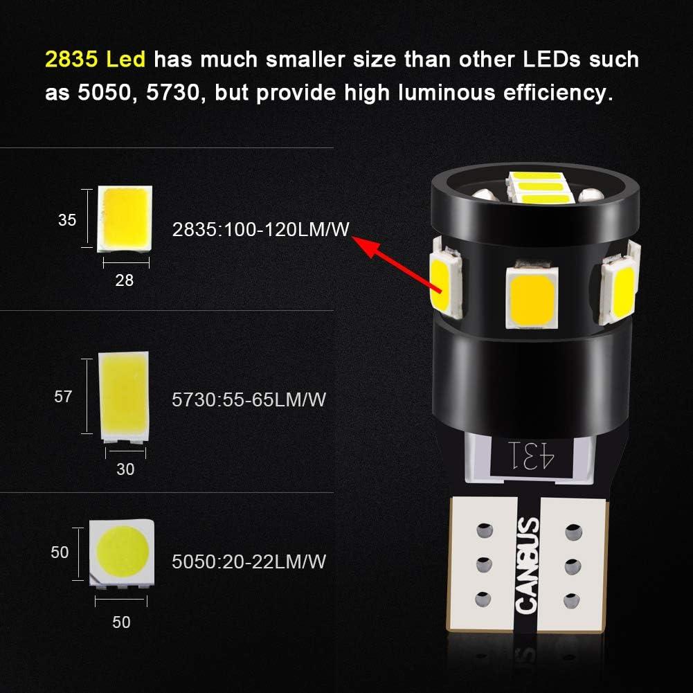 LncBoc T10 Canbus LED Ampoules de Voiture Lampe 9-2835 Chipset W5W Rouge Ampoules de Remplacement /à Inversion pour Lumi/ère D/ôme Carte C/ôt/é Feux de Plaque dImmatriculation 10PCS
