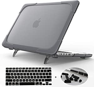 Mektron[Heavy Duty[Snap on][Dual Layer] Rubberized Hard Case Cover for MacBook Pro 15 inch with Retina Display Model A1398 (NO CD-ROM Drive,NO Touch bar) (Gray)