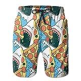 PerfectQun Men's Swim Trunks Pizza Shark Pouch