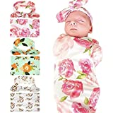 ivya Newborn Baby Receiving Blanket and Hairband Set, Foral Swaddle Blanket Set with Headband Infant Shower Blankets