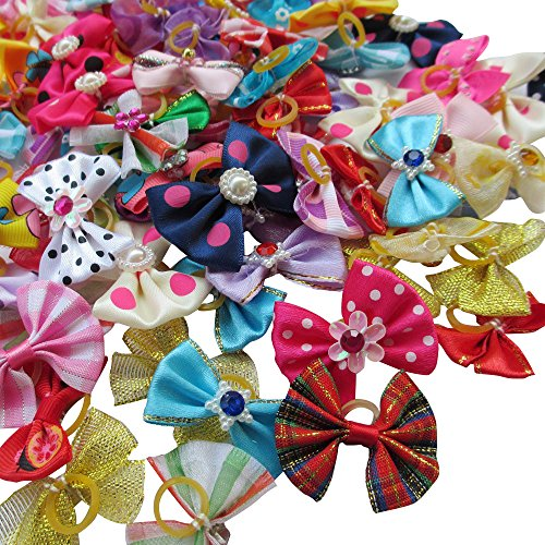 (Chenkou Craft Random of 100pcs New Dog Hair Bow with Rubber Band Rhinestone Pet Grooming Products Mix Colors Varies Patterns Pet Hair Bows Dog Accessories)