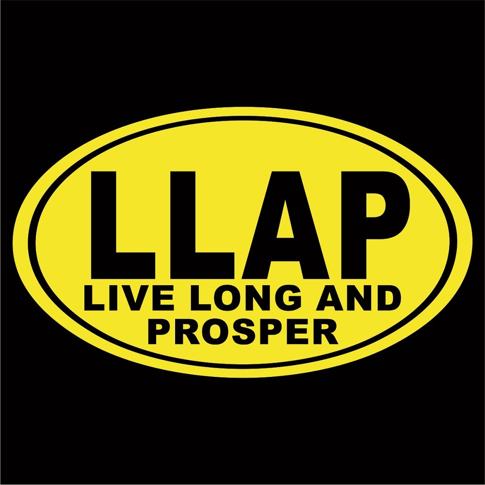 "Cove Signs LLAP Euro Oval Decal/Sticker - Yellow 4"" - Live Long and Prosper Spock Star Trek Federation Starfleet"