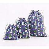 Westeng coulisse sacchi borse tela di cotone sacchetti sacchetto regalo biancheria intima calzini Storage Bag cactus stampa, Blue, L