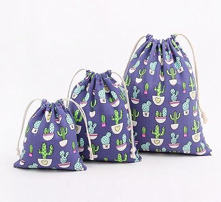 Blue S BIGBOBA 1Pcs Cactus Drawstring Bags Beam Pocket Cotton Linen Cloth Bag Travel Storage Bag Gift Bag Wedding Party Bag