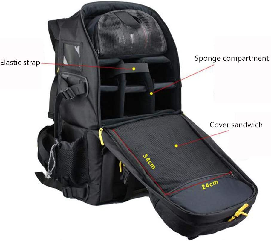 SYF/&DJN Large Capacity DSLR Camera Backpack Waterproof Travel Camera Case Multi-Function Shockproof Professional Photography Bags for Camera Lens