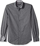 BUGATCHI Men's Cotton Slim Fit Spread Collar Woven, Black, XX-Large