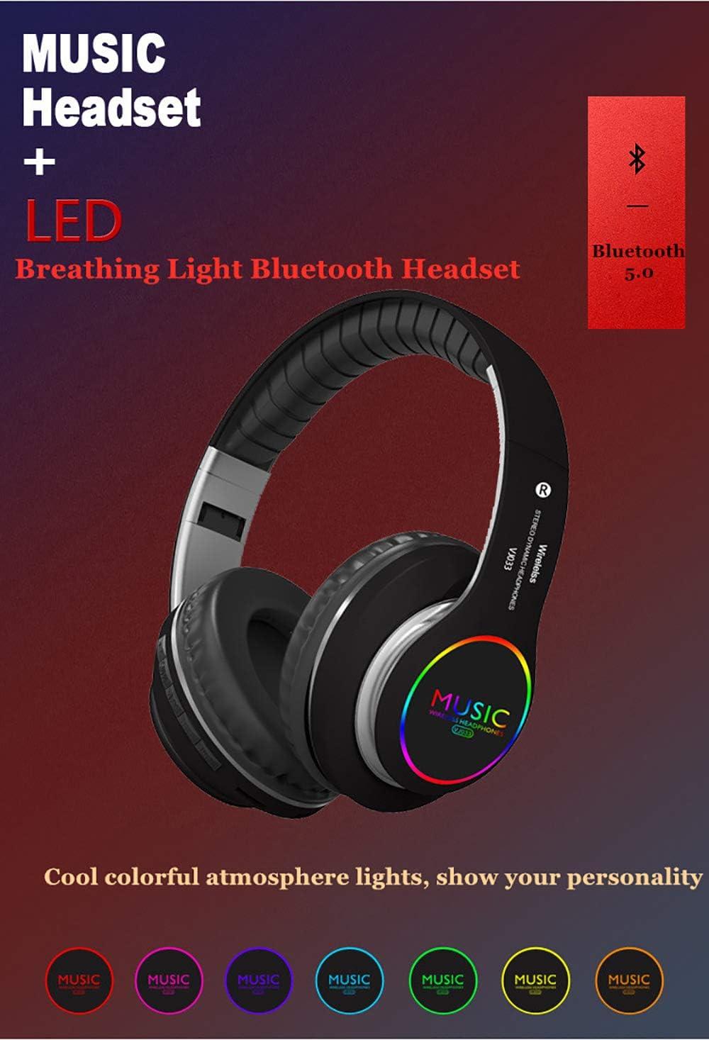 Bluetooth Headphones Over Ear On Ear Headphones Hi-Fi Stereo Wireless Headset Lightweight Portable Headphone Red