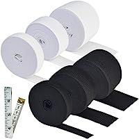 Topbuti 6 Rolls Sewing Stretch Elastic Band Spool 3/5 Inch 1 Inch 1.5 Inch Wide Black White Knit Stretch Cord Elastic Band Roll for Sewing 5.5 Yard/Roll