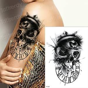 Handaxian 3pcs-Sugar cráneo Tatuaje Fuego Rojo cráneo Tatuaje ...