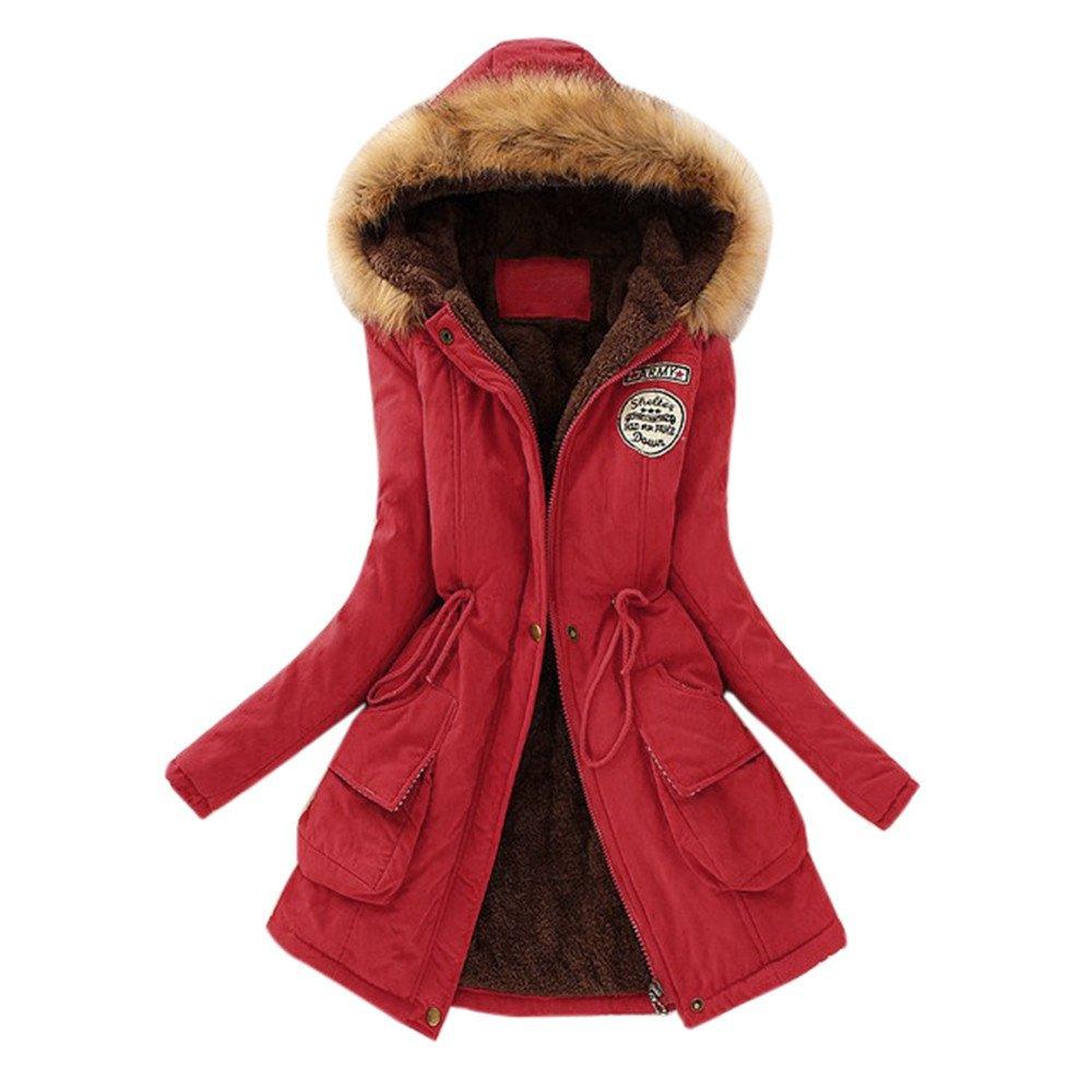 Gillberry Womens Warm Fur Collar Long Coat Hooded Slim Winter Parka Outwear Jacket (L, Red) by Gillberry Women's Jacket