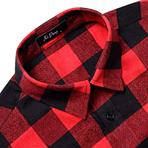 MCEDAR Men's Plaid Flannel Shirts-Long Sleeve Casual Button Down Slim Fit Outfit for Camp Hanging Out or Work