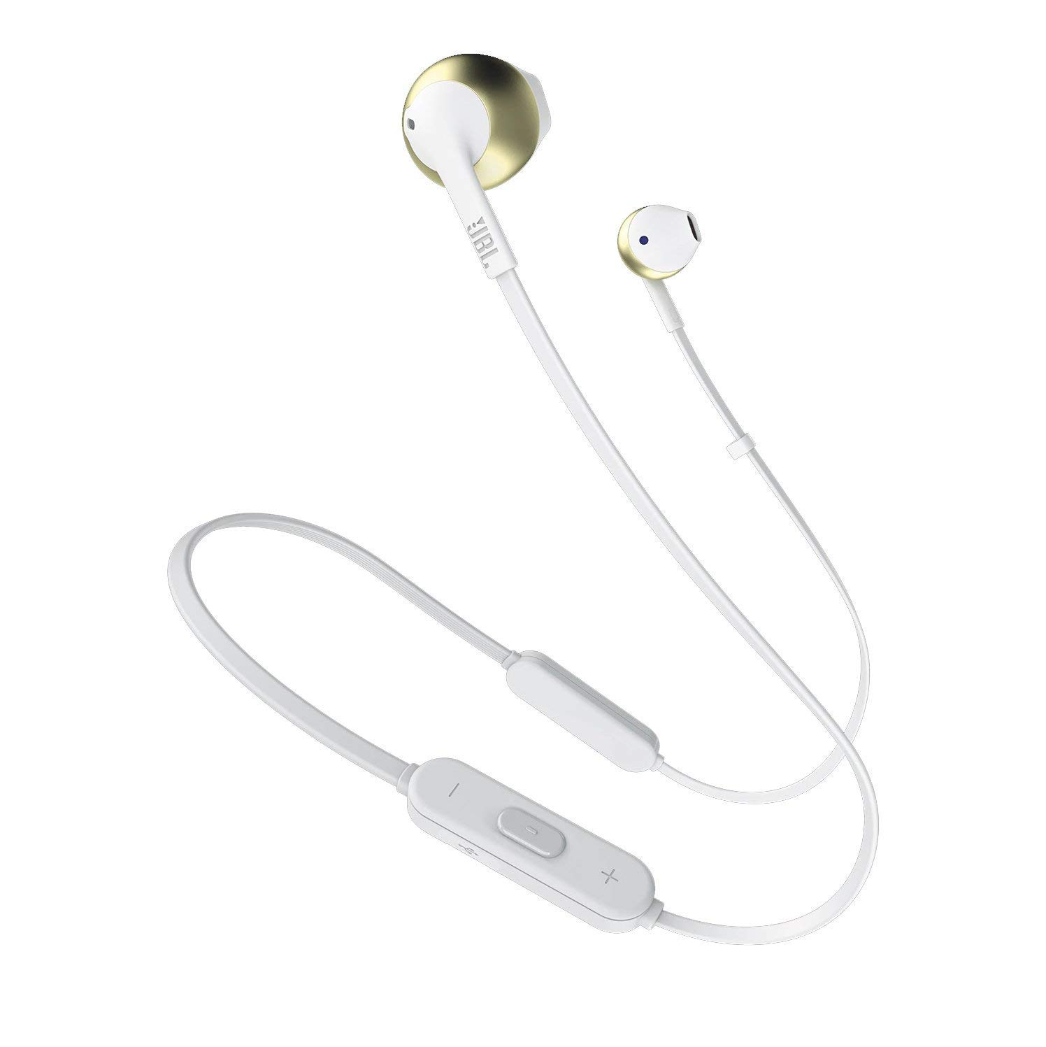 JBL T205BT Wireless in-Ear Headphones with Three-Button Remote and Microphone Champagne Gold