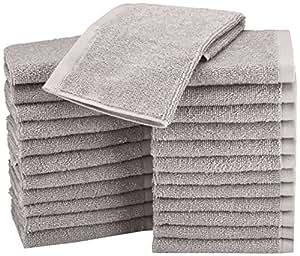 AmazonBasics Cotton Washcloth - Pack of 24, Grey