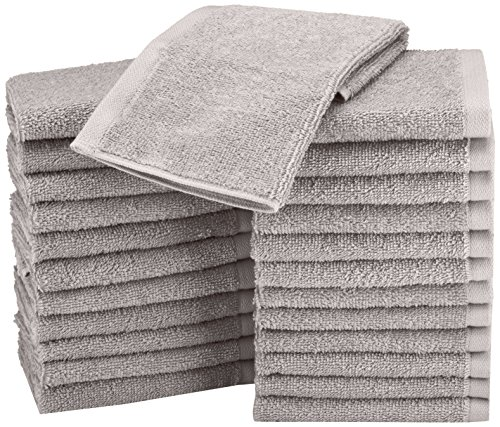 AmazonBasics Cotton Washcloth/Face Towel – 448 GSM – Pack of 24, Grey