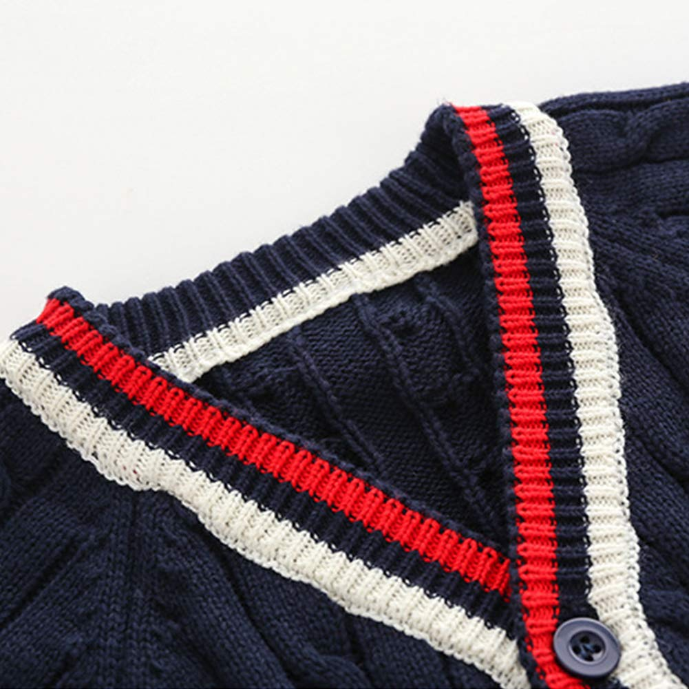 Baby Boys Sweater Cardigan Cardigan V-Neck Striped Kids Knitted Sweater