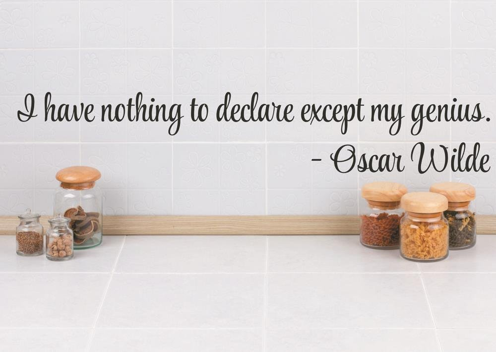 Design with Vinyl RAD 157 2 I Have Nothing to Declare Except My Genius Oscar Wilde Quote Decor Wall Decal Sticker 5 x 22 Black