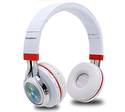 a062422fd2f Amazon.com: Glowing Stereo Casque Audio Bluetooth Headphone Wireless Big  Headset Sport Earphone Mic LED Light TF FM for PC Phone,White: Home Audio &  Theater