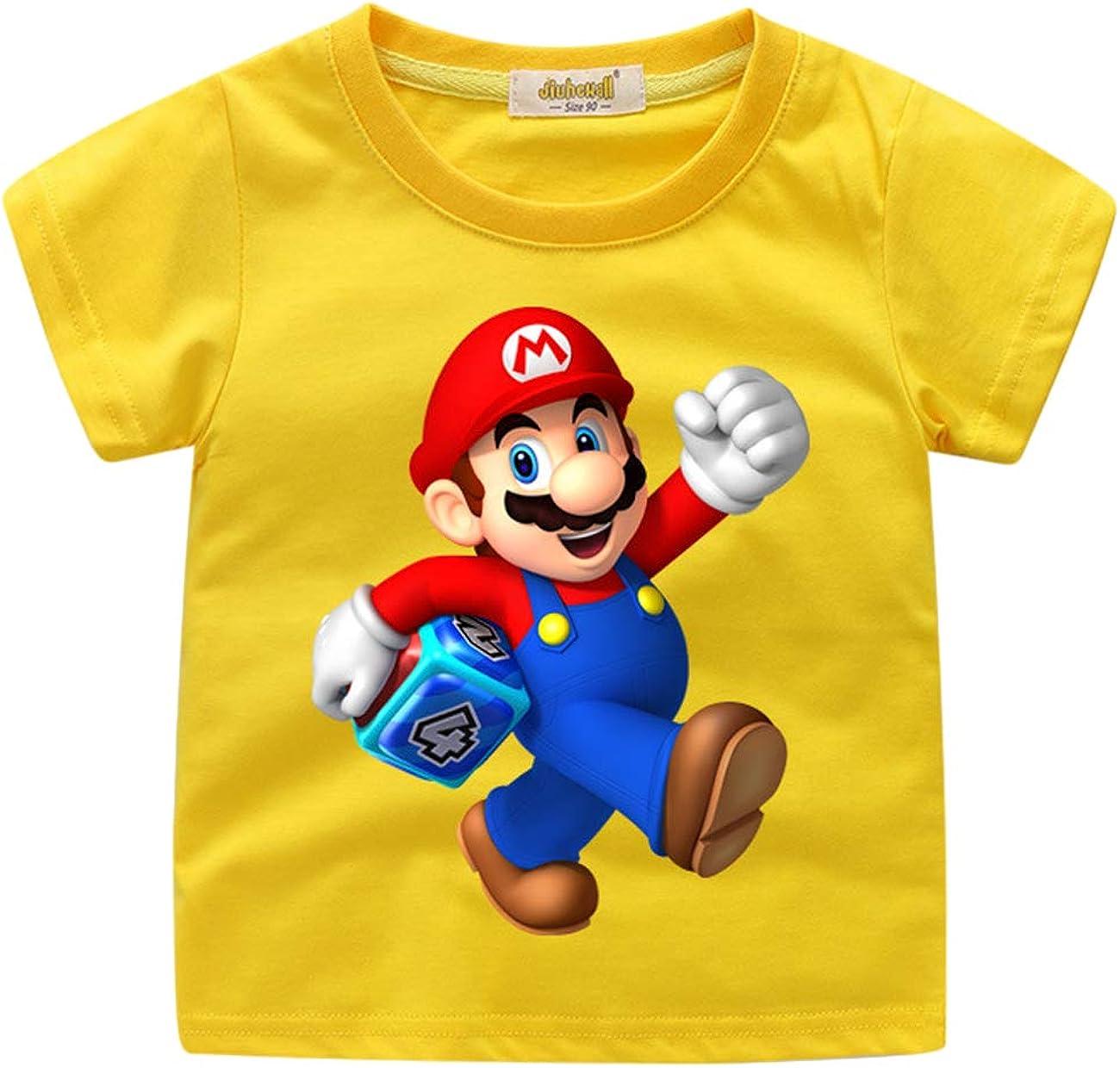 Moda Super Mario Maglietta per Bambini,Super Mario Bros Manica Corta Estate Tee T-Shirt Elegante Camicia Tops Camicetta Blusa Maglietta da Ragazzi E Ragazzo