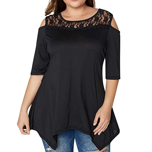 cbbe3f77ff6 Plus Size Shirt, Women Lace Cold Shoulder Tops Ladies Half Sleeve T-Shirt  by MEEYA at Amazon Women's Clothing store:
